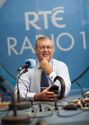 Joe Duffy holding a microphone: Defending Liveline's reputation, Joe insisted that the biggest names in business are phoning into the programme, 'from Michael O'Leary down.' Pic: RTÉ