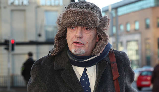 Ian Bailey wearing a hat: While Mr Bailey accepts he has always been the prime suspect, he strongly denies murdering Ms Toscan du Plantier, 39, outside her home near Schull 25 years ago. Pic: Collins Courts