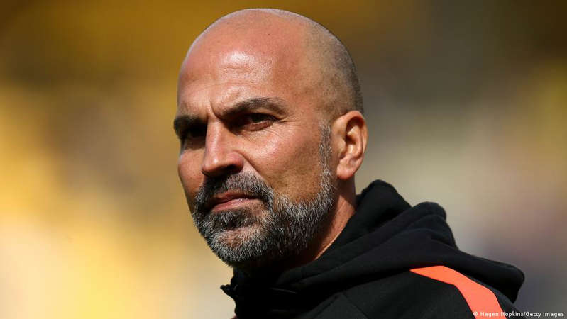 Markus Babbel looking at the camera: Markus Babbel won 51 caps for Germany and played for Bayern Munich and Liverpool