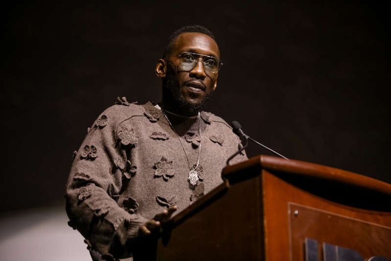 """Mahershala Ali looking at the camera: Actor and Executive Producer Mahershala Ali speaks onstage before the premiere of """"We Are The Dream"""" on February 11, 2020 in Oakland, California. HBO/Getty"""