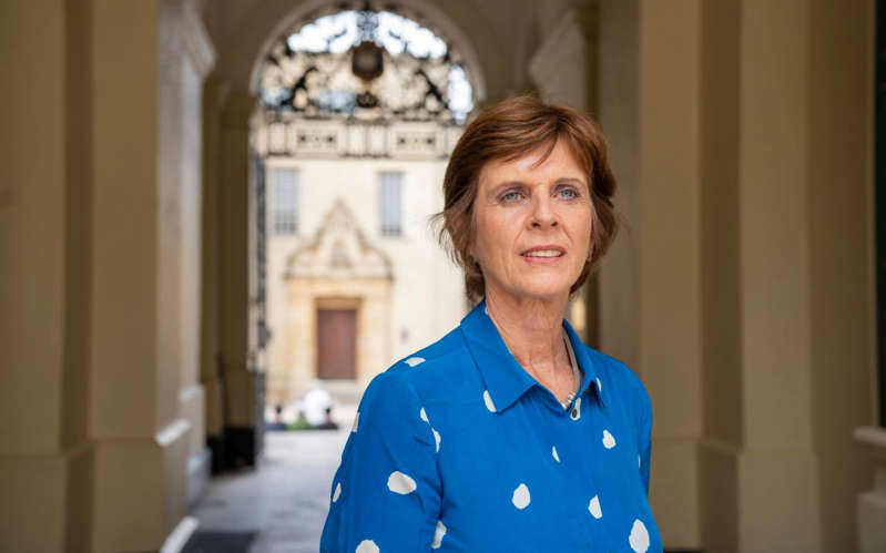 Louise Richardson in a blue shirt: Prof Louise Richardson - Andrew Crowley