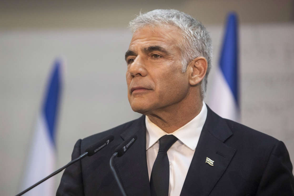 Yair Lapid wearing a suit and tie: Yesh Atid Party Leader Yair Lapid News Conference