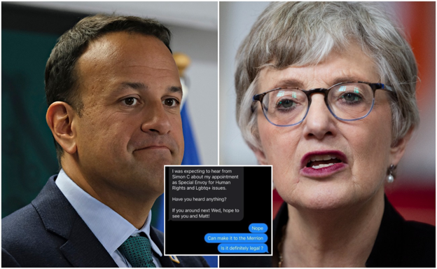 Leo Varadkar, Katherine Zappone are posing for a picture
