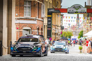 a car parked on a city street: Adrien Fourmaux, Renaud Jamoul, M-Sport Ford WRT Ford Fiesta WRC