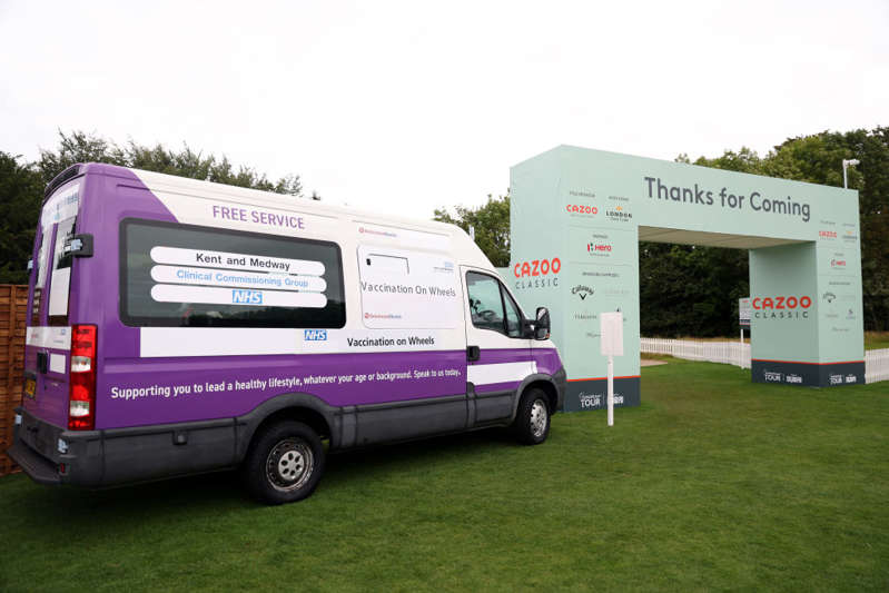 General view of a Vaccination on Wheels Covid-19 clinic which will be offering first and second doses of AstraZeneca and Pfizer jabs to people aged 18 and over, who are yet to be fully vaccinated during day two of the Cazoo Classic at the London Golf Club in Ash, Kent. Picture date: Friday August 13, 2021. (Photo by Steven Paston/PA Images via Getty Images)