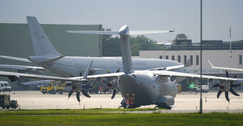A Voyager aircraft (rear) arrives at RAF Brize Norton in Oxfordshire. British troops are racing against the clock to get remaining UK nationals and their local allies out of Afghanistan following the dramatic fall of the country's Western-backed government to the Taliban. Picture date: Monday August 16, 2021. (Photo by Steve Parsons/PA Images via Getty Images)