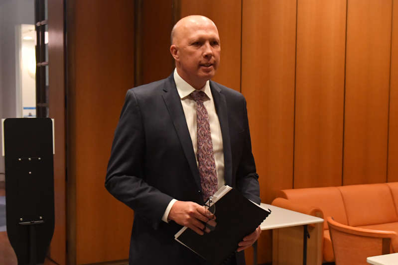 Minister for Home Affairs Peter Dutton arrives for the start of a cabinet meeting at Parliament House, on October 6, 2020 in Canberra, Australia.