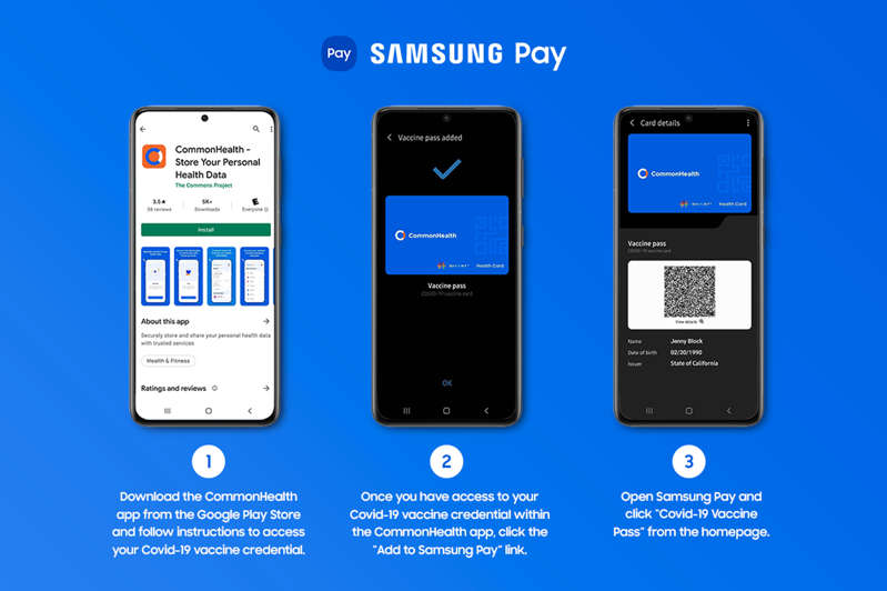 graphical user interface, application: A Vaccine Pass feature has been added to Samsung Pay. (Samsung)