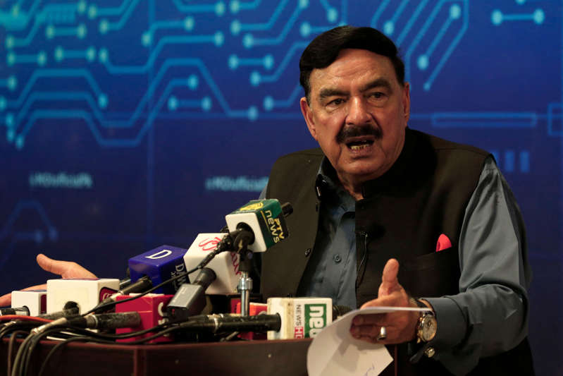 Pakistan's Interior Minister Sheikh Rashid speaks during a press conference on the brief abduction of the daughter of Afghan ambassador to Pakistan, in Islamabad on July 18, 2021. (Photo by Farooq NAEEM / AFP) (Photo by FAROOQ NAEEM/AFP via Getty Images)