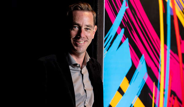Ryan Tubridy wearing a suit and tie holding a colorful kite: Asked if he would accept an invitation to appear on The Late Late Show on a later date, Mr Bailey said he doesn't answer hypothetical questions but that he would probably not accept. Pic: Andres Poveda