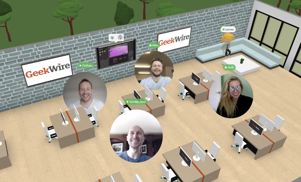 """<a href=""""https://www.sportsgaming.win/2021/06/a-group-of-experts-is-fighting-to.html"""">a group of</a> people sitting at a desk: An example of a virtual GeekWire office built with Spot. (Spot Photo)"""