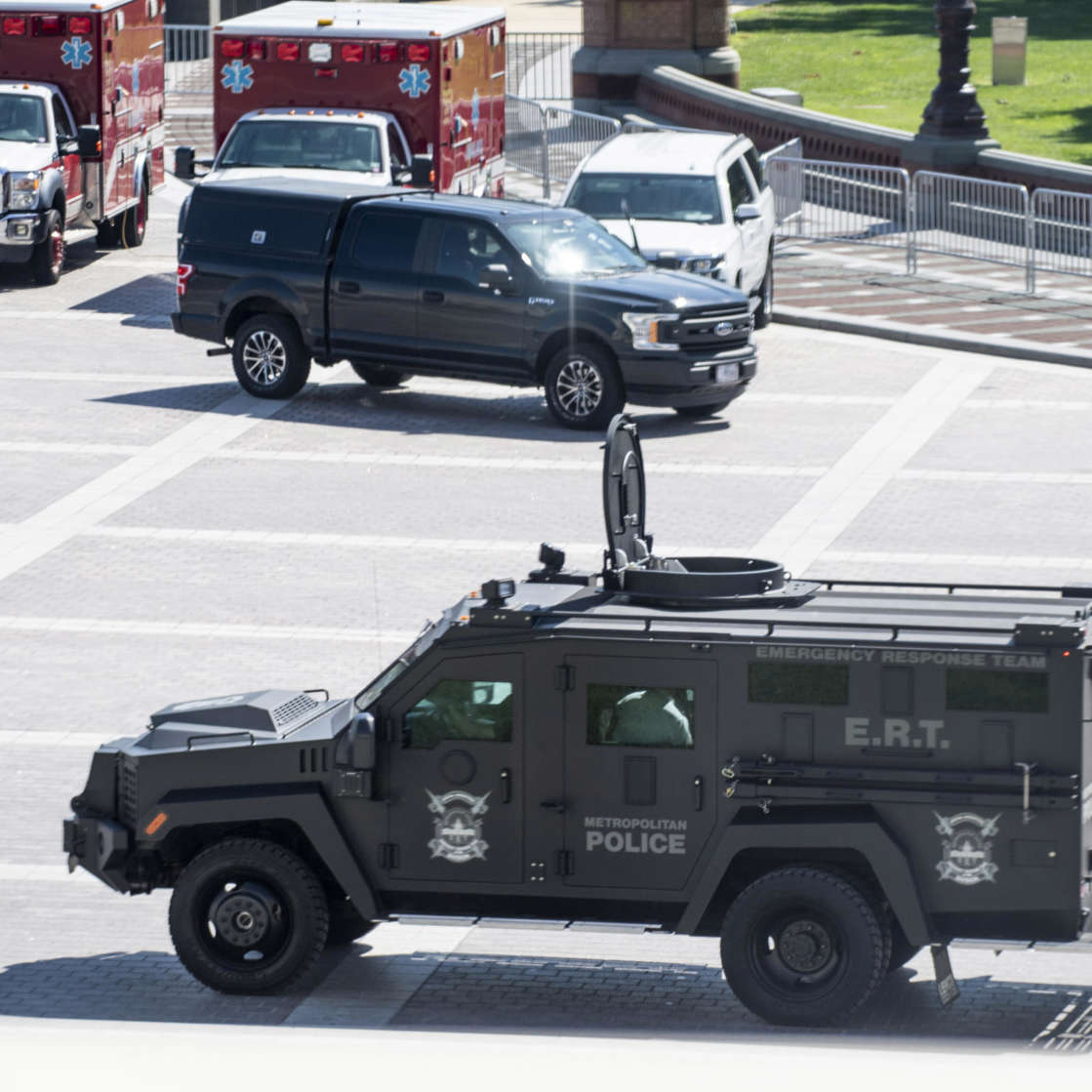 a truck is parked on the side of a road: Library of Congress Bomb Threat