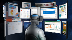 Envelop for Windows let users work in a virtual environment with infinite monitors in a 3D space. The company shut down in 2017. (Envelop Image)
