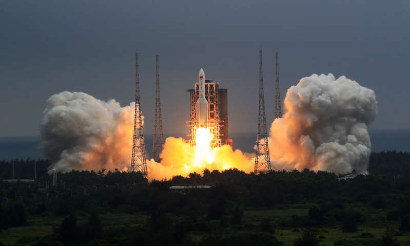 The Long March-5B Y2 rocket, carrying the Tianhe module, blasts off from the Wenchang in south China's Hainan province in April.