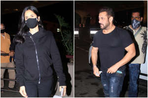 Salman Khan et al. posing for the camera: Salman Khan Looks Fitter Than Ever as he Joins Katrina Kaif in Russia For Tiger 3 | See Pics From Airport