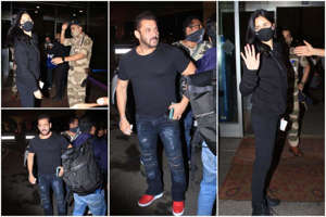 Salman Khan, Salman Khan posing for a photo: Salman Khan Looks Fitter Than Ever as he Joins Katrina Kaif in Russia For Tiger 3 | See Pics From Airport (Photo Courtesy: Viral Bhayani for india.com)