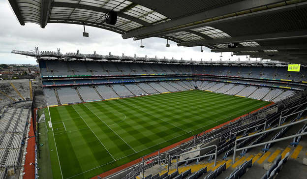 a large stadium: 7 August 2021; A general view of Croke Park before the GAA Hurling All-Ireland Senior Championship semi-final match between Limerick and Waterford. Photo by Seb Daly/Sportsfile