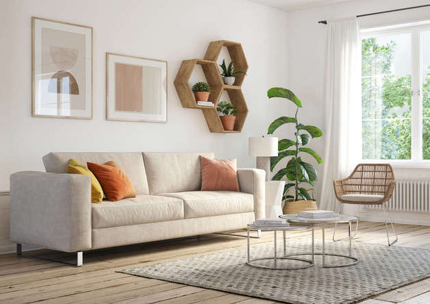 Break minimalism with touches of color and natural fibers.