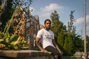 a man riding a skateboard: After being released on a parole, Daniel Hayes started a youth mentoring program and a small business.
