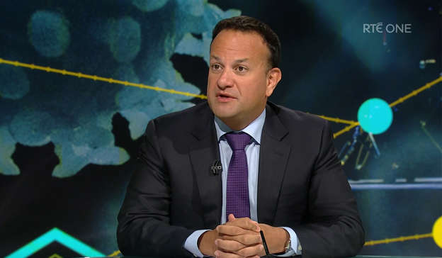 Leo Varadkar wearing a suit and tie: The Tanaiste said that both he and Mr Coveney 'accept our responsibility' over their handling of the affair. Pic: RTÉ One