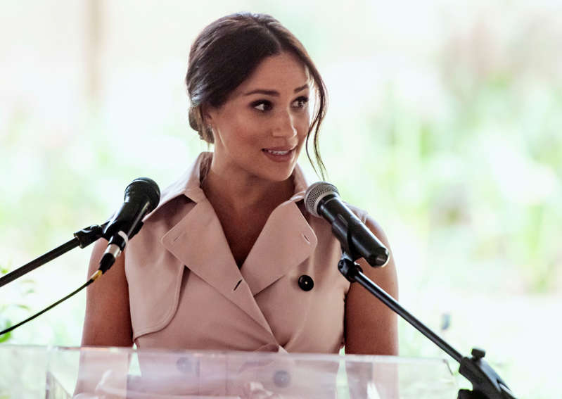 FILE - Meghan, the Duchess of Sussex, addresses members of the British and South African business communities at a reception in Johannesburg, Wednesday, Oct. 2, 2019.
