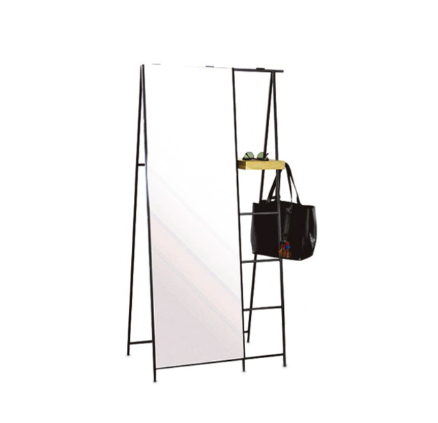 A mirror that is also a coat rack solves space problems.