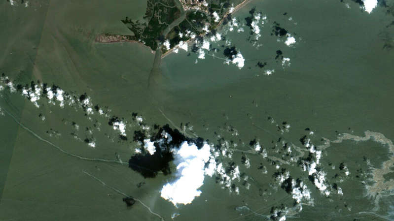 An aerial image shows the oil spill south of Port Fourchon, Louisiana. Pic: AP/Maxar