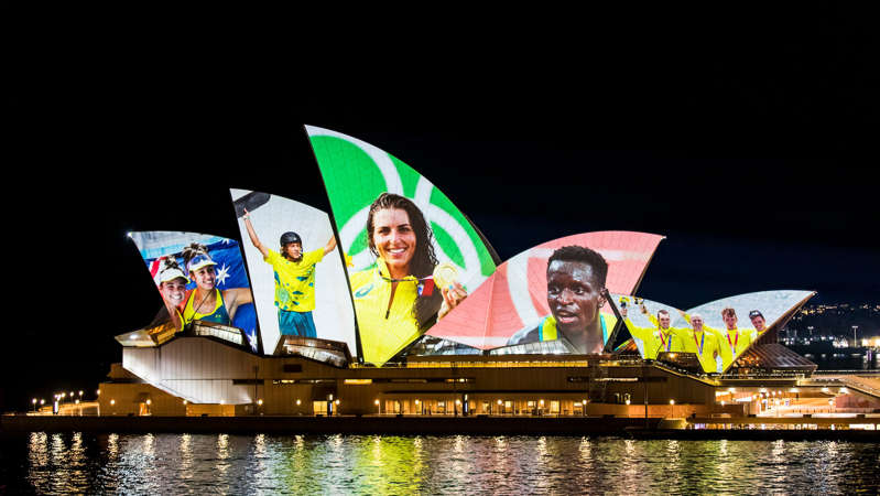 The Sydney Opera House displaying the images of Australia's Olympians and Paralympians on Sunday night. (NSW government)