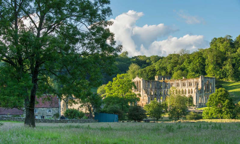 a tree in front of a house: 'The village is dominated by the atmospheric ruin of Rievaulx Abbey': Rievaulx, Yorkshire. Photograph: Ian Lamond/Alamy