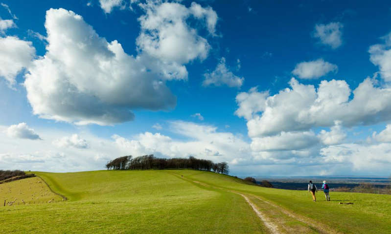 a large green field with clouds in the sky: 'The stretch of the South Downs Way near the prehistoric hill fort of Chanctonbury is particularly beautiful': Washington, West Sussex. Photograph: Slawek Staszczuk/Alamy
