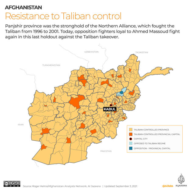 map: An overview of the Taliban control areas in Afghanistan and areas held by the opposition forces