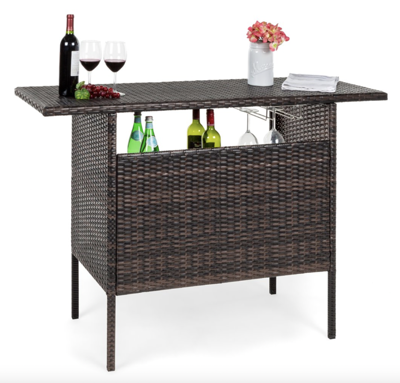 a chair sitting in front of a wooden table: Best Choice Products Outdoor Patio Wicker Bar Counter Table