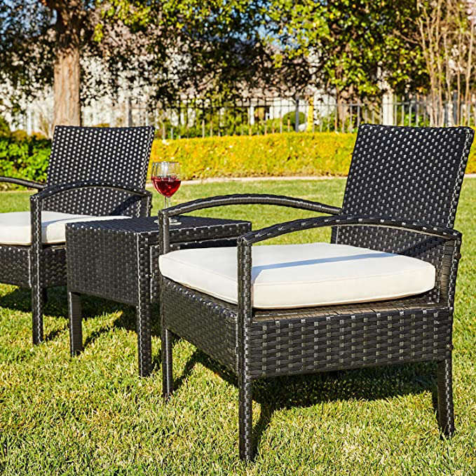 a couple of lawn chairs sitting on top of a picnic table: M&W 3 Pieces Patio Sofa Set