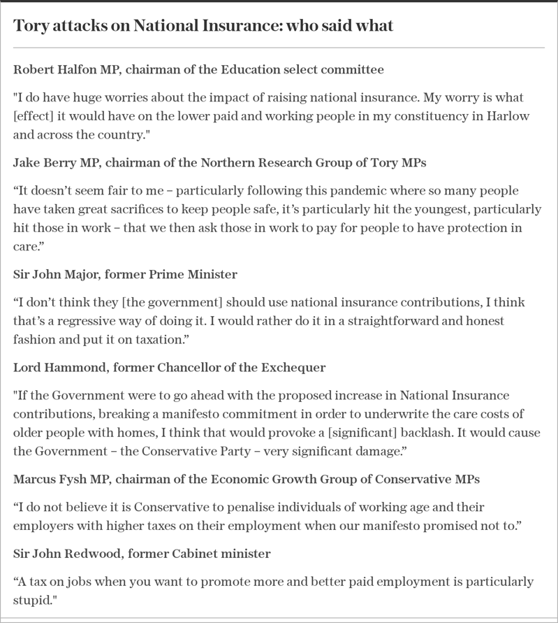 text: Tory attacks on National Insurance: who said what