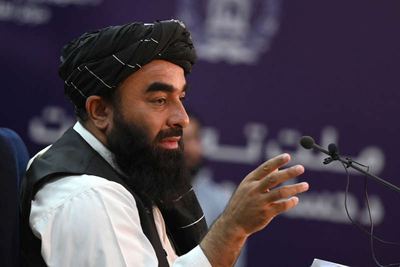 Taliban spokesman Zabihullah Mujahid speaks during a press conference in Kabul on September 6, 2021. (Photo by WAKIL KOHSAR/AFP via Getty Images)
