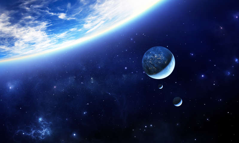a blue sky: A stock image shows an illustration of an exoplanet.