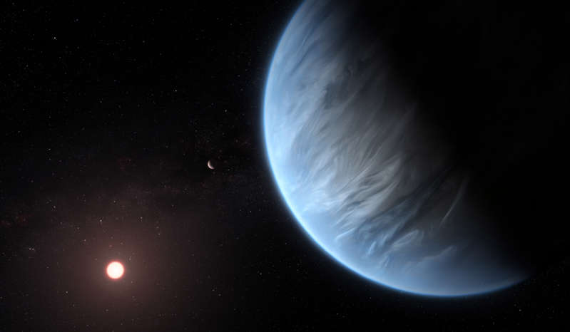 a star filled sky: An artist's impression of K2 18b. The exoplanet and its water rich atmosphere will be be prime target for the James Webb Space Telescope. , M. Kornmesser/ESA