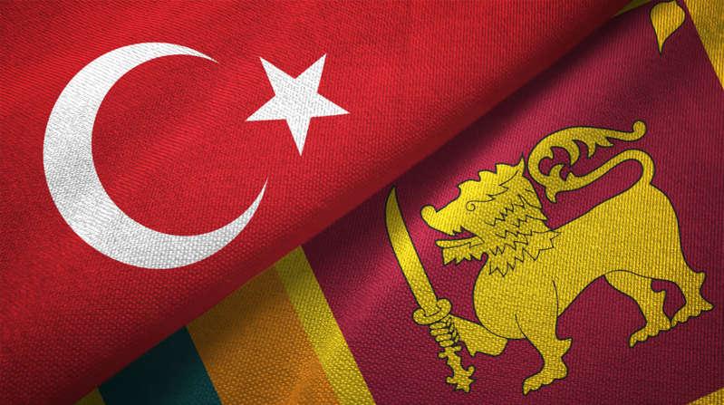 Sri Lanka and Turkey flags together textile cloth, fabric texture