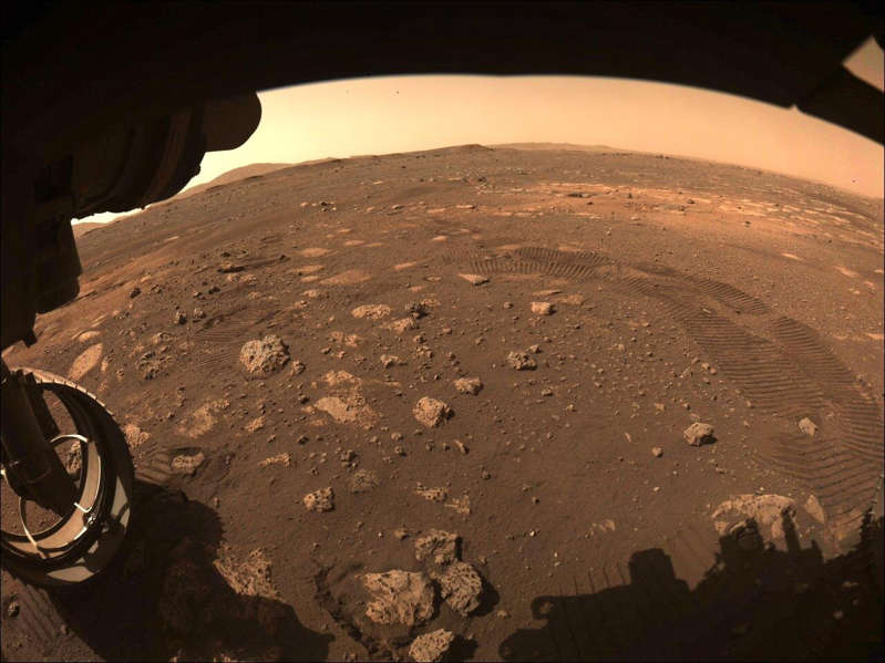 a view of a beach: This image was captured while NASA's Perseverance rover drove on Mars for the first time on March 4, 2021.