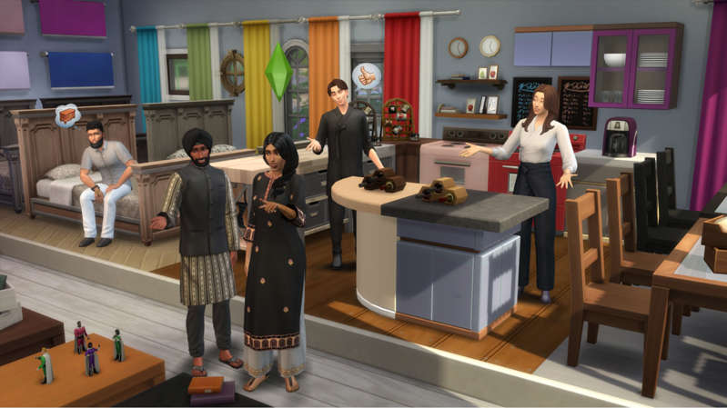 a group of people standing in a room: Sims 4 autumn update