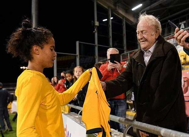 Mary Fowler of Australia with her grandfather Kevin Fowler, from Ballymun, Dublin, following the women's international friendly match between Republic of Ireland and Australia at Tallaght Stadium in Dublin. Pic: Stephen McCarthy/Sportsfile
