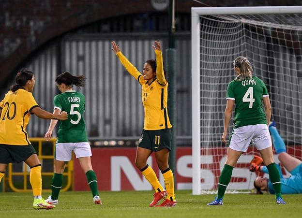 Mary Fowler of Australia celebrates with team-mate Sam Kerr, left, after scoring her side's first goal during the women's international friendly match between Republic of Ireland and Australia at Tallaght Stadium in Dublin. Pic: Stephen McCarthy/Sportsfile