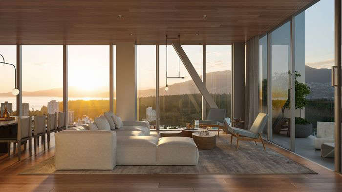 a room filled with furniture and a large window:  There are 69 different floorplans: Fifteen Fifteen comprises studio, one-, two- and three-bedroom units, cantilevered Observatory Residences and penthouses.
