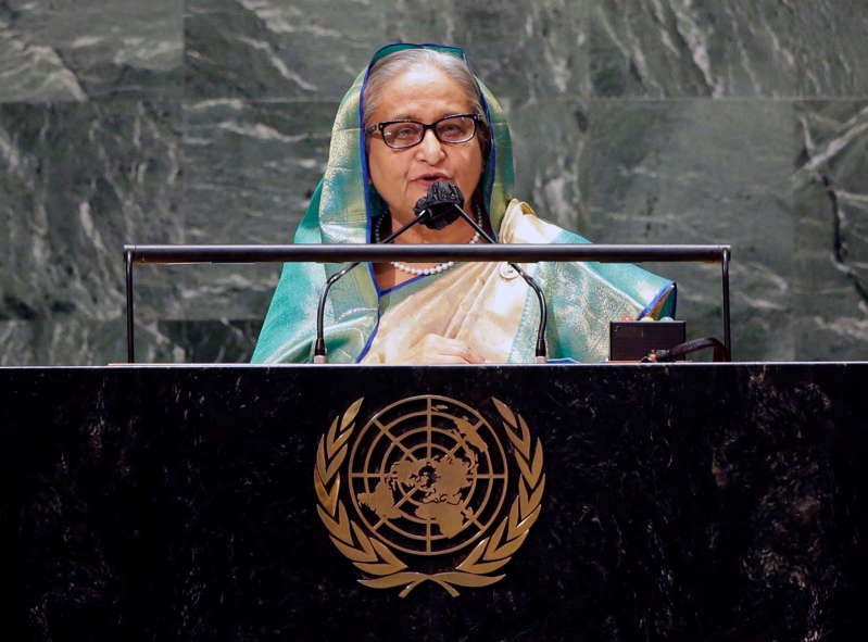 Bangladesh Prime Minister Sheikh Hasina speaks at the UN General Assembly 76th session General Debate in UN General Assembly Hall at the United Nations Headquarters in New York City, New York, U.S., September 24, 2021. John Angelillo/Pool via REUTERS