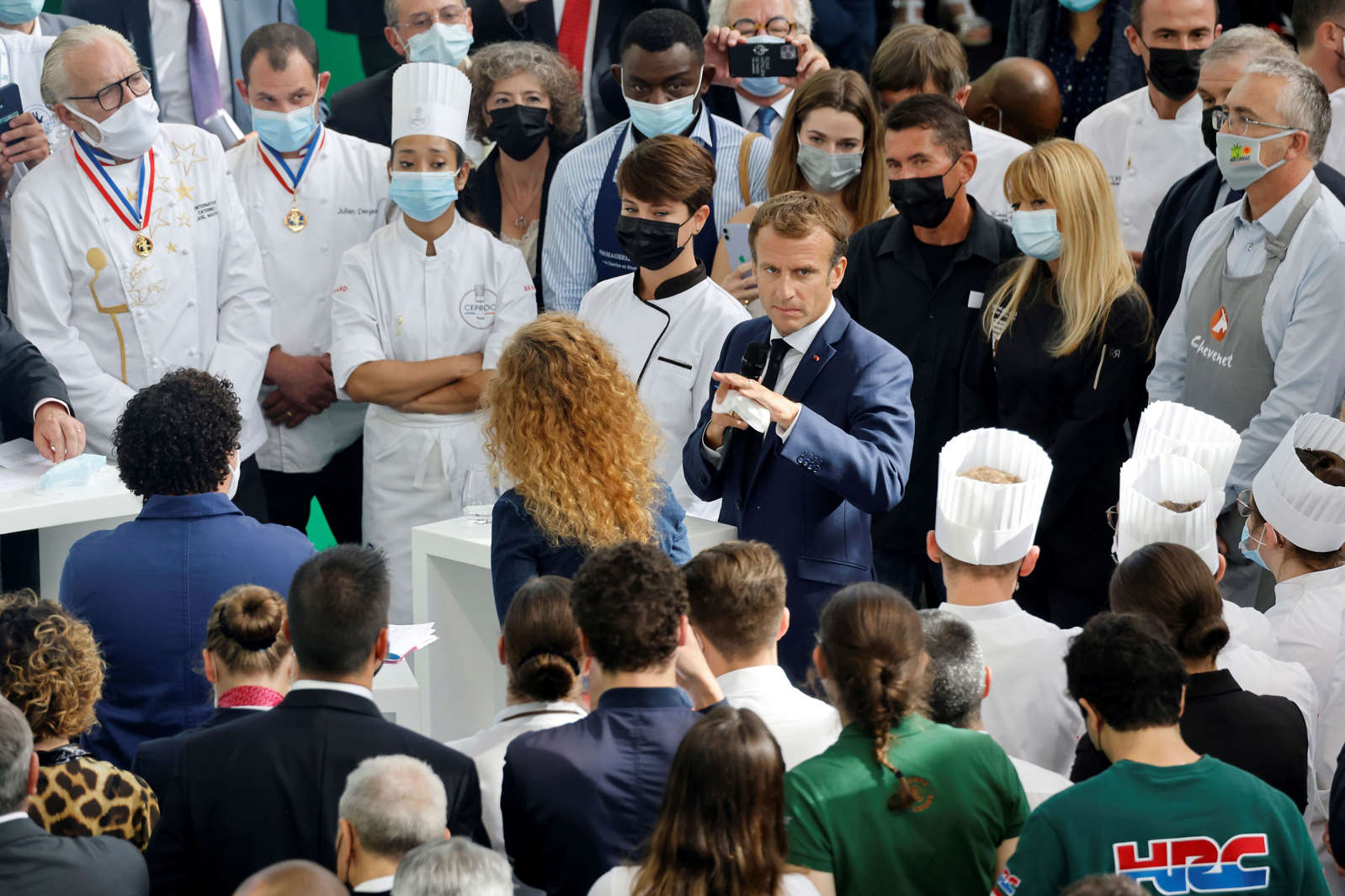 French President Emmanuel Macron was hit by an egg during his visit to Lyon to promote French gastronomy. EPA