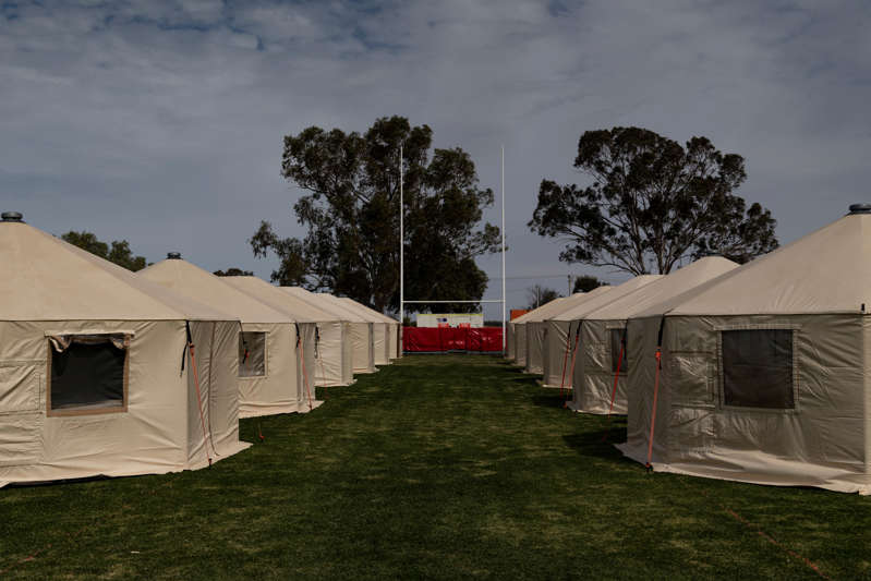 Emergency temporary housing was set up on Wilcannia's main football field for essential workers.