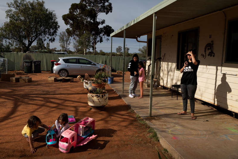 The scene at a house in Wilcannia where a family of 10 was isolating on Aug. 30.
