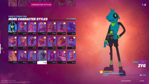 """The """"More Character Styles"""" page displays a new selection of Toona Fish styles that can only be unlocked by completing designated quests. For instance, the Zyg style requires you to eliminate 20 cube monsters. Epic Games"""
