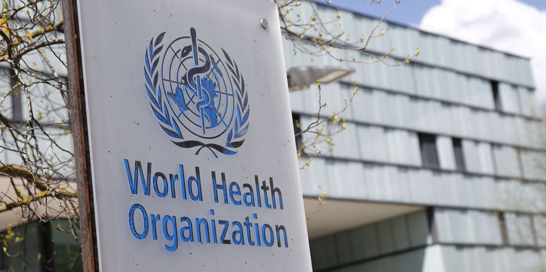 A logo is pictured outside a building of the World Health Organization (WHO) during an executive board meeting on update on the coronavirus disease (COVID-19) outbreak, in Geneva, Switzerland, April 6, 2021. Denis Balibouse/REUTERS