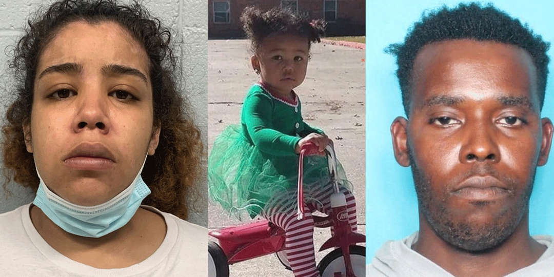 Lanaya Cardwell (left) and Phillip Gardner (right) have been charged with second-degree murder for the death of their child, 2-year-old Nevaeh Allen (center).
